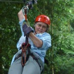 Kathy Bower on canopy tour at Monteverde, Costa Rica