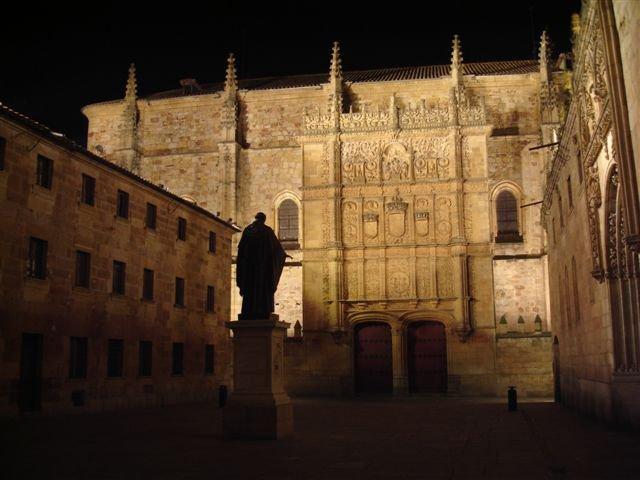 The University of Salamanca at night.